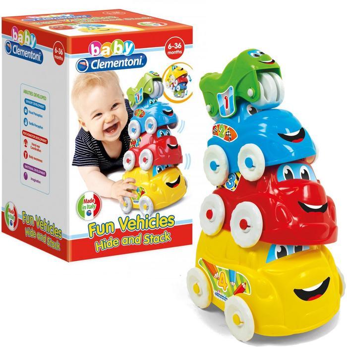 Baby Clementoni-ჩვილის გასართობი ფერადი მანქანები